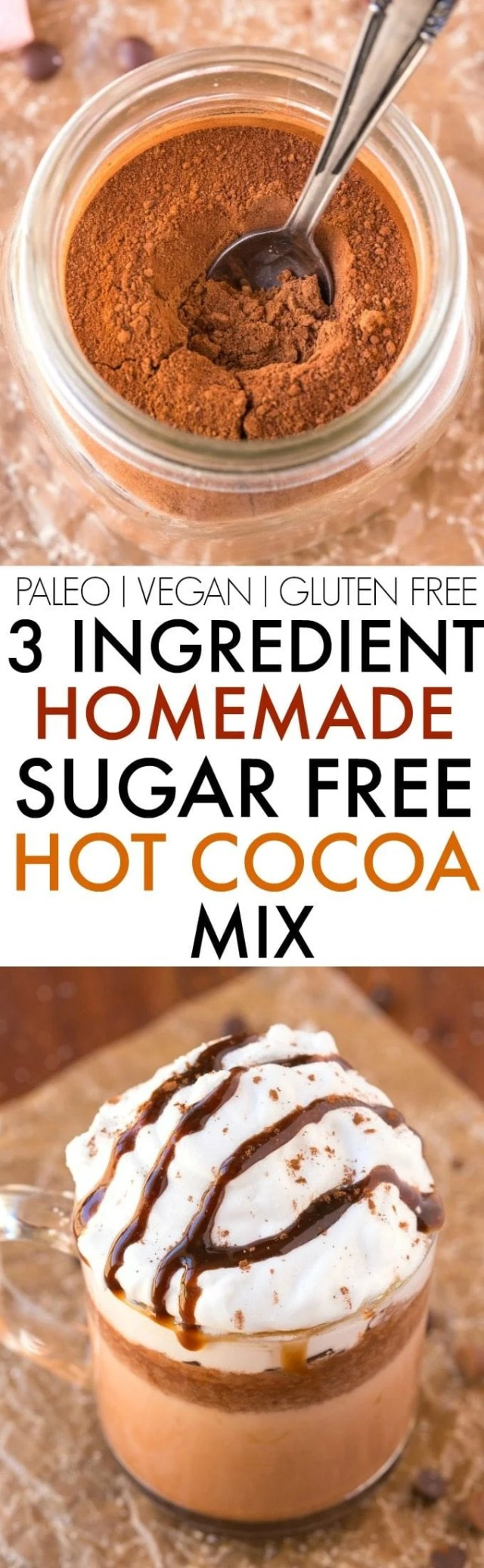3 Ingredient Sugar Free Hot Chocolate Cocoa Mix (V, GF, Paleo)- Easy, healthy, creamy hot chocolate mix perfect for gifting and made with NO nasties or fillers- Just add water or milk! {vegan, gluten free, paleo recipe}- thebigmansworld.com