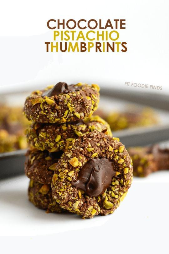 Chocolate Pistachio Thumbprint Cookies