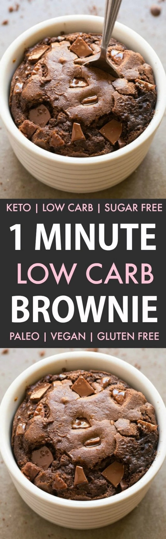 Healthy 1 Minute Low Carb Chocolate Brownie (Keto, Sugar Free, Paleo, Vegan, Gluten Free)- An easy recipe for a gooey and fudgy brownie mug cake ready in a minute or with an oven option too- NO grains and NO sugar! #ketodessert #keto #paleo #vegan #dairyfree #sugarfree | Recipe on thebigmansworld.com