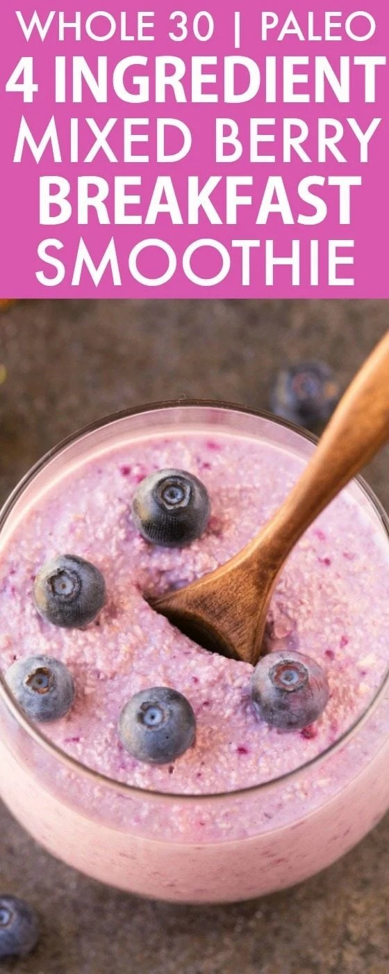 4 Ingredient Mixed Berry Breakfast Smoothie (Whole30, Paleo, V, GF)- Whole 30 friendly thick, creamy, satisfying smoothie to keep you satisfied for hours- Delicious snack or post dinner drink too! Four ingredients, easy, quick and naturally sweetened! {vegan, gluten free, paleo, dairy free, whole30 recipe}- thebigmansworld.com