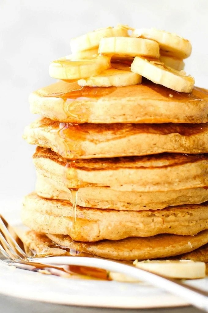 fluffy flourless banana smoothie pancakes vegan gluten
