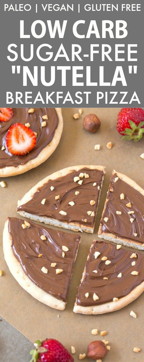 """Healthy Low Carb Sugar Free """"Nutella"""" Breakfast Pizza (V, GF, Paleo)- A thin and crispy low carb pizza crust topped with a creamy and sugar-free hazelnut spread! It's filling and like dessert for breakfast! {vegan, gluten free, paleo recipe}- thebigmansworld.com"""