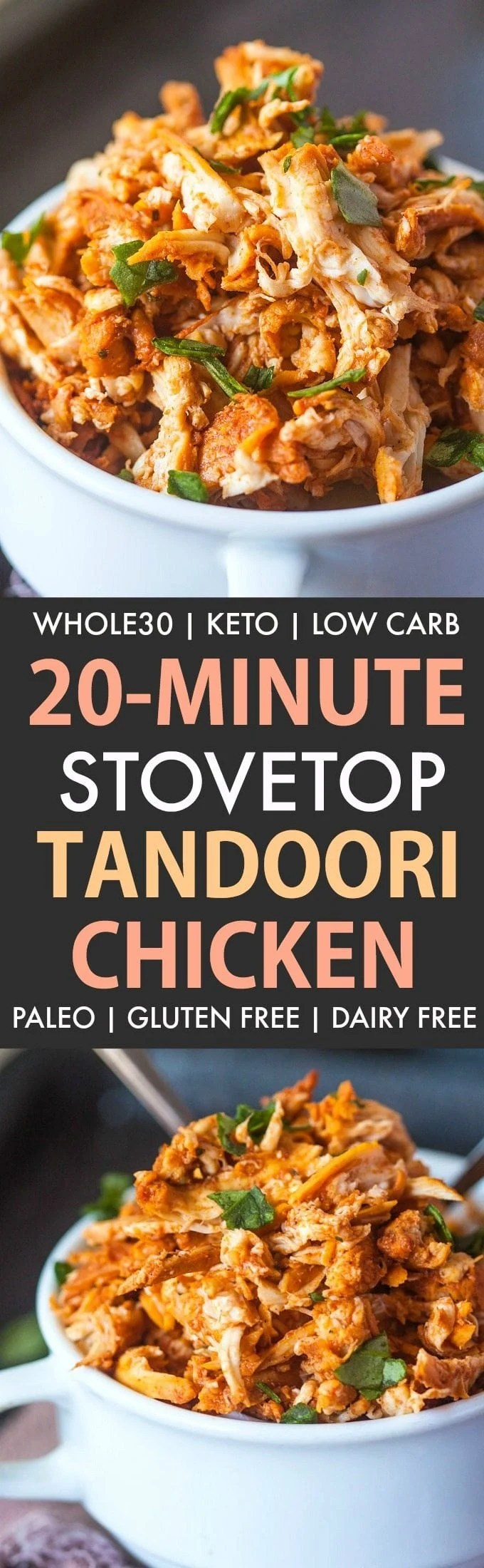 20 Minute Stovetop Pulled Tandoori Chicken (Whole30, Keto, Paleo, Gluten Free)- Easy low carb chicken recipe which is whole30 approved and keto friendly- Instant pot and crockpot ready too! #instantpot #whole30 #keto #whole30approved   Recipe on thebigmansworld.com