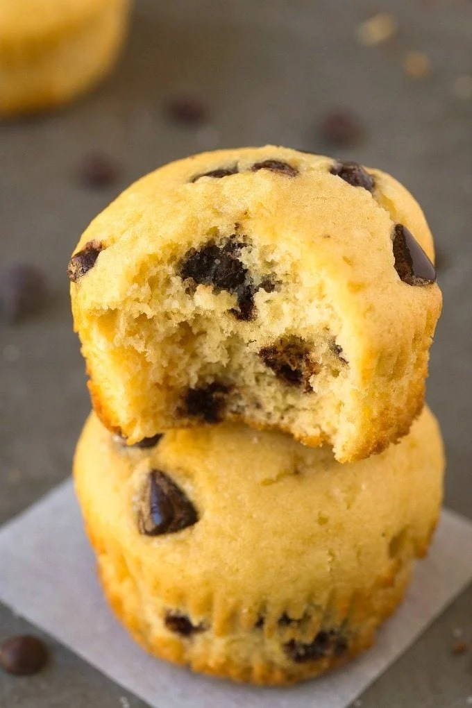 5 Ingredient Chocolate Chip Protein Muffins (GF, V, Paleo)- Healthy, 5-ingredient fluffy muffins loaded with chocolate chips and 100% guilt-free and low carb! {sugar-free, vegan, gluten free recipe}- thebigmansworld.com