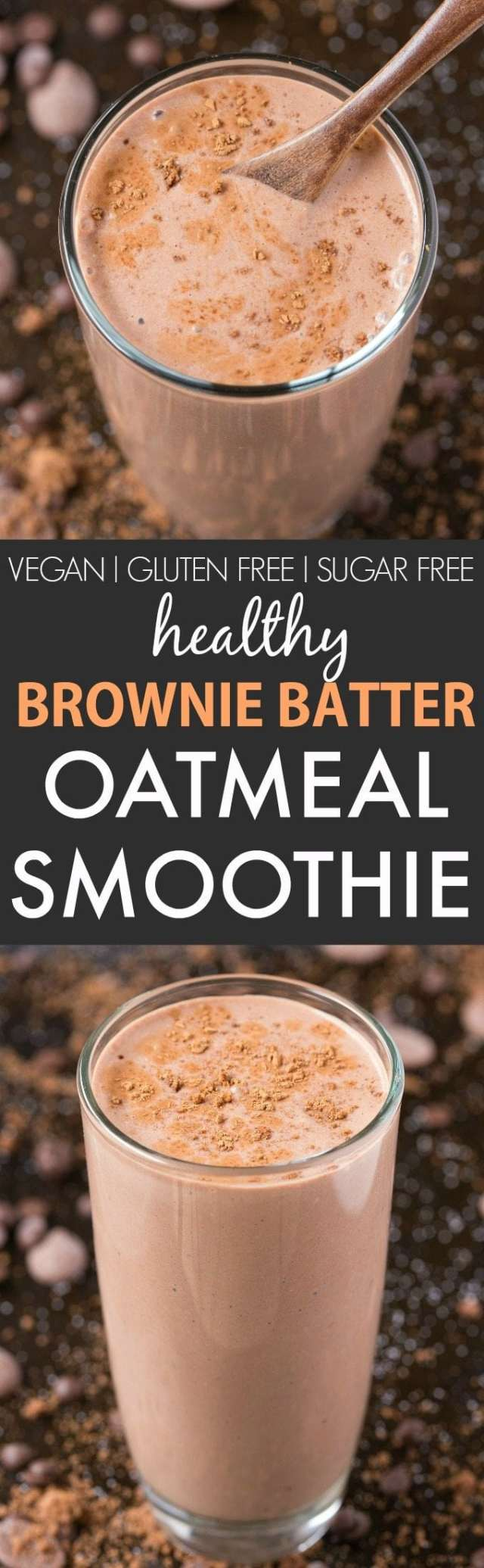 Healthy Brownie Batter Oatmeal Smoothie (V, GF, DF)- Thick, creamy and the taste and texture of real brownie batter, this smoothie is perfect for breakfast, snacks or even a post workout shake! {vegan, gluten free, sugar free recipe}- thebigmansworld.com