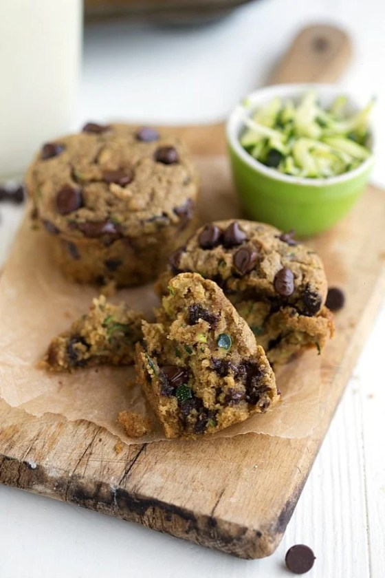 Flourless Chocolate Chip Zucchini Muffins
