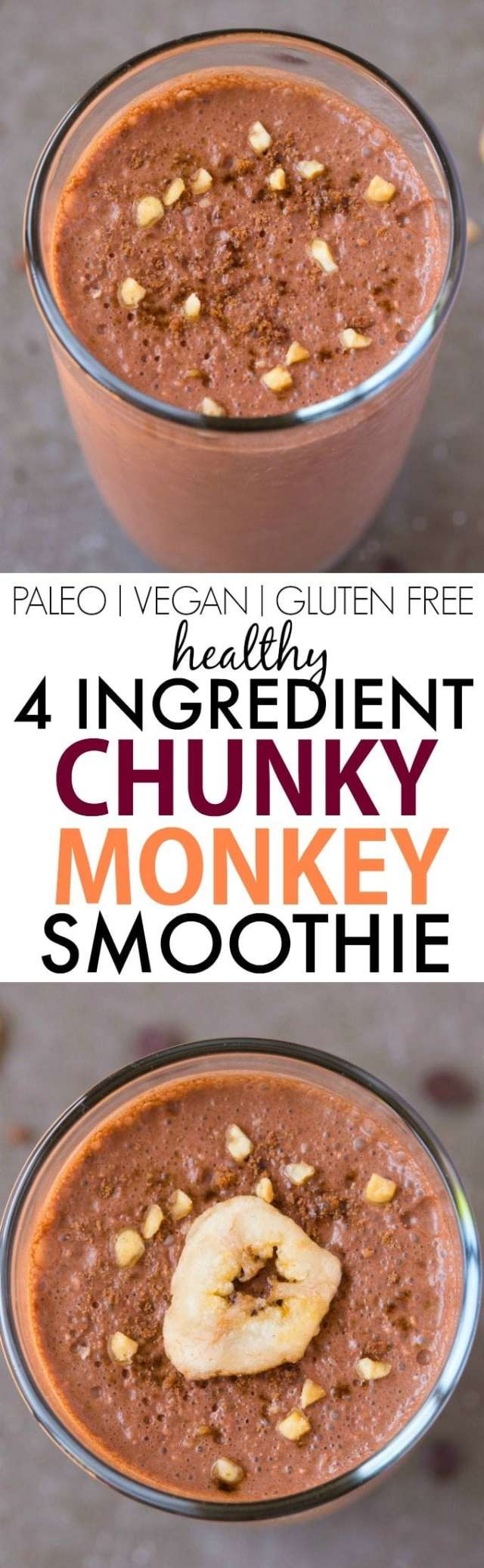 4 Ingredient Chunky Monkey Smoothie (V, GF, Paleo)- Thick, creamy and LOADED with delicious peanut butter and chocolate flavor! Protein-packed and satisfying! {vegan, gluten free, sugar free recipe}- thebigmansworld.com