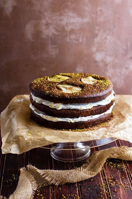 Flourless Chocolate Pistachio Pear Naked Cake