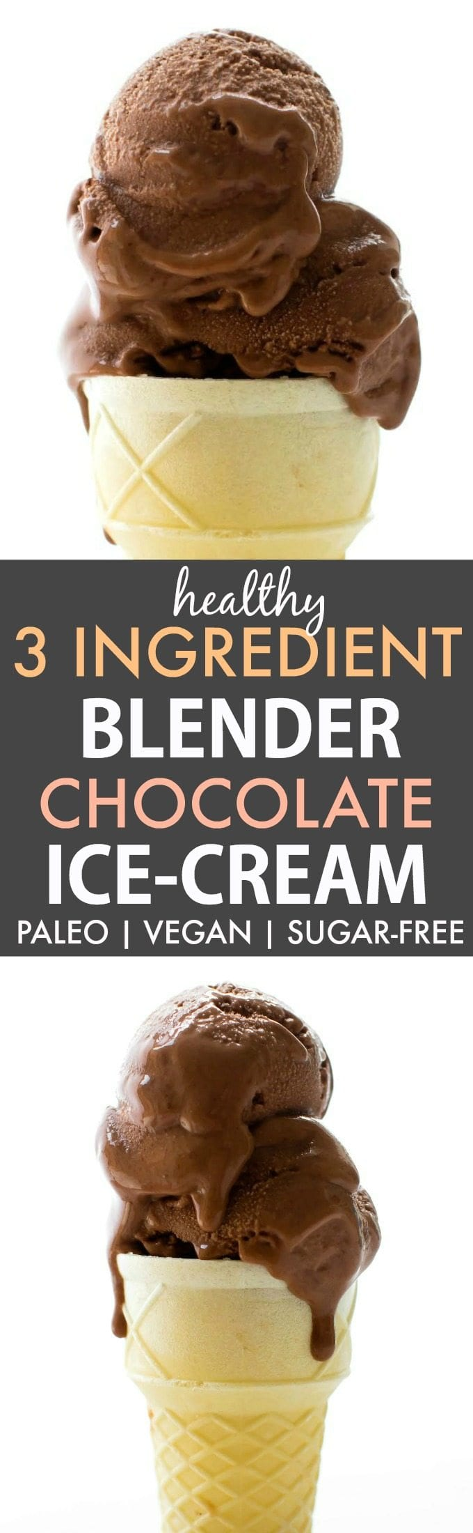 Healthy 3 Ingredient No Churn Blender Chocolate Ice Cream (Paleo ...