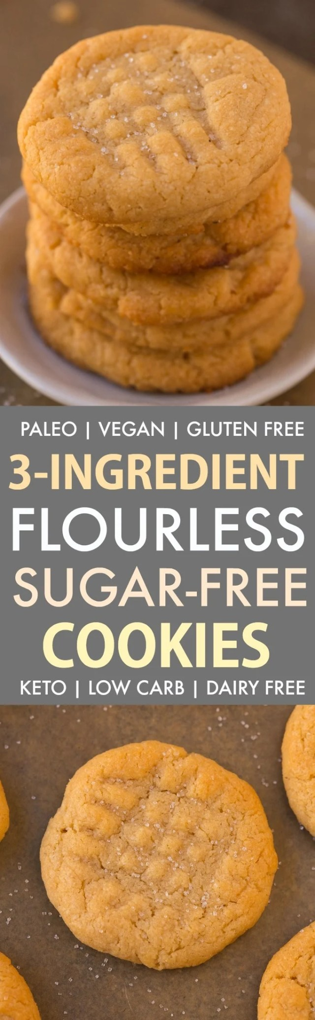 A collage of flourless sugar free peanut butter cookies made eggless