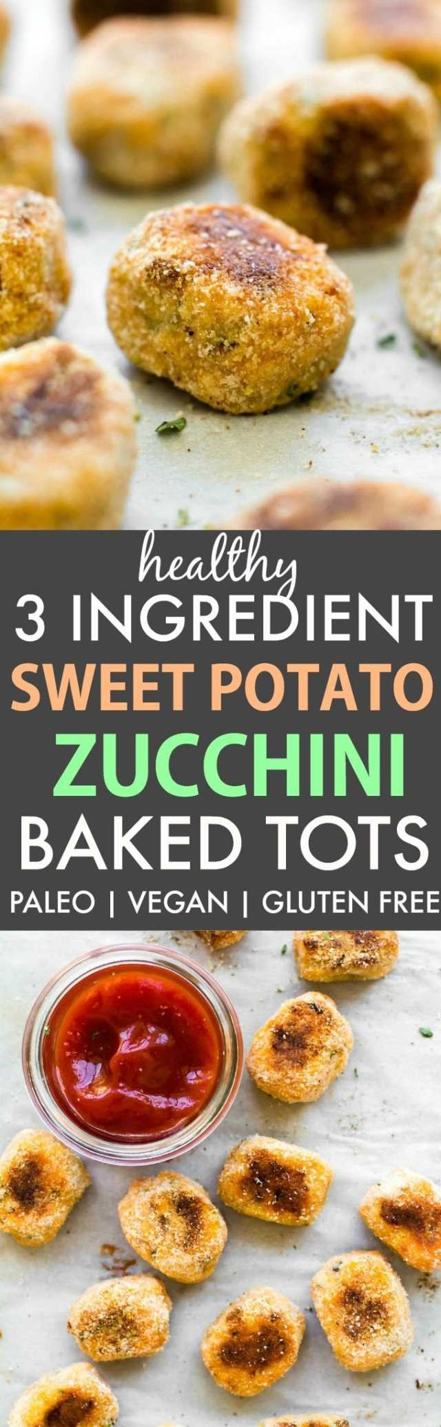 Healthy 3 Ingredient Sweet Potato Zucchini Baked Tots (V, GF, P, DF)- Crispy, easy and accidentally healthy low carb tots which are the perfect snack or veggie packed side dish- Oil free too! {vegan, gluten free, paleo recipe}- thebigmansworld.com