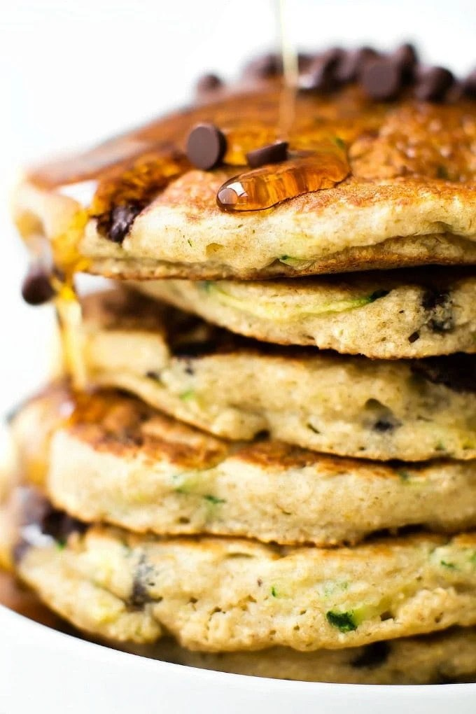 Fluffy Flourless Zucchini Bread Pancakes (V, GF, Sugar Free)- Thick & Fluffy Blender Flourless Zucchini Bread pancakes recipe made with no eggs and no flour! {vegan, gluten free, sugar free}- thebigmansworld.com