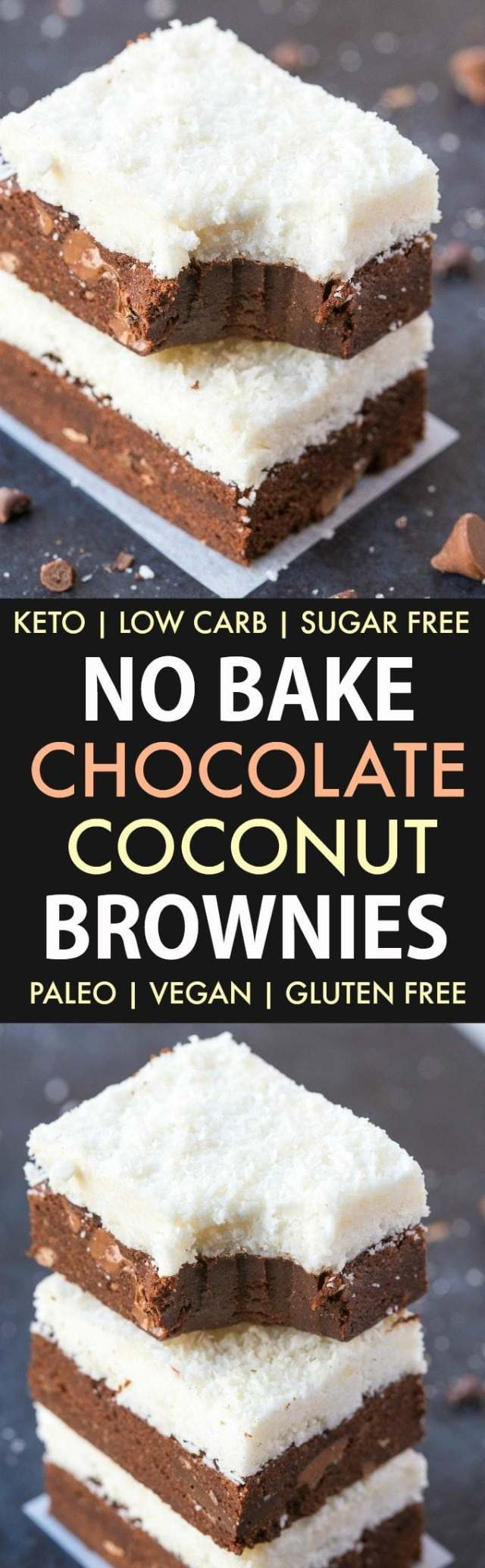 No Bake Chocolate Coconut Brownies (Paleo, Vegan, Keto, Sugar Free, Gluten Free)-An easy recipe for chocolate coconut no bake brownies and packed with protein! Easy, delicious low carb cookies which take less than 5 minutes to whip up- The perfect snack or dessert. #keto #ketodessert #nobake #brownies   Recipe on thebigmansworld.com