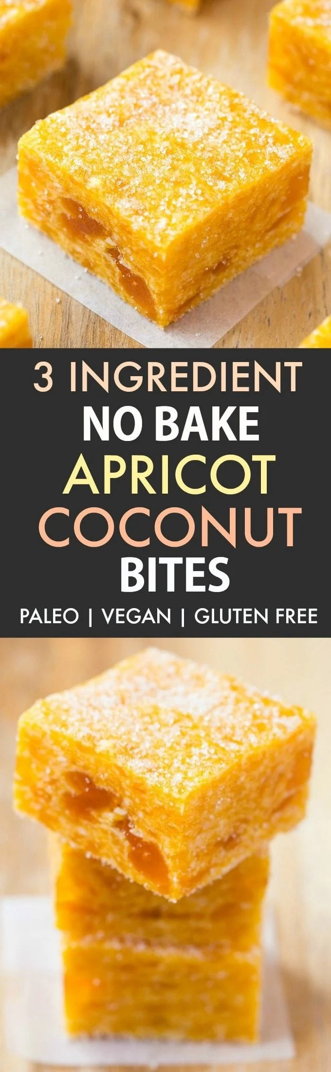 3 Ingredient No Bake Apricot Coconut Bites (Paleo, Vegan, Gluten Free) - Quick and easy apricot coconut energy bite recipe made with 3 ingredients and no sugar! {v, gf, p, df}- thebigmansworld.com