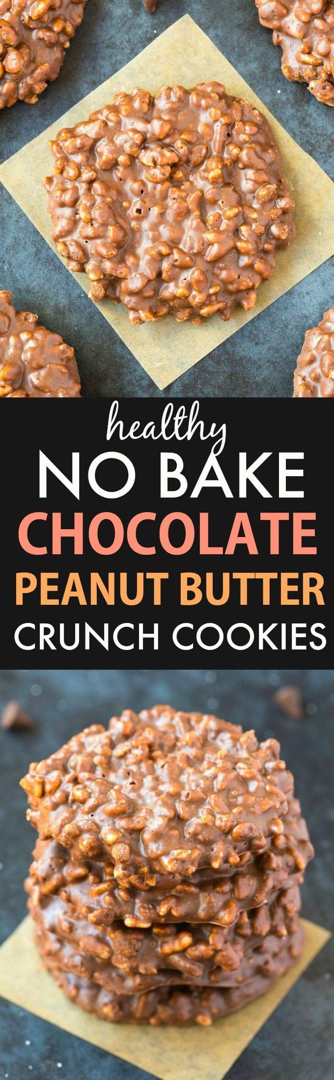 Healthy No Bake Chocolate Peanut Butter Crunch Cookies (Vegan ...