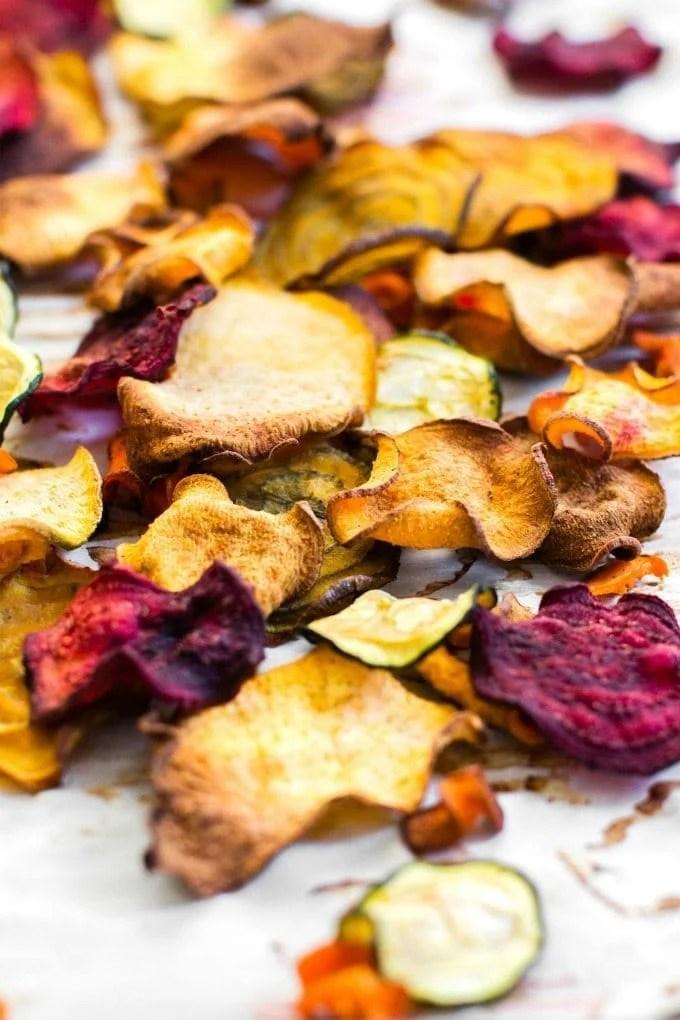 Oil Free Baked Veggie Chips (Paleo, Vegan, Gluten Free)