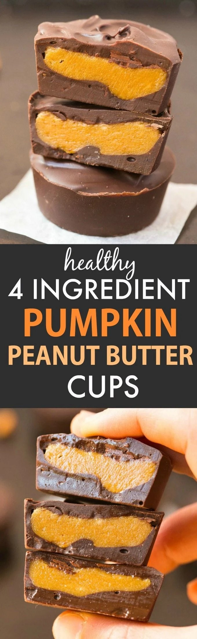 Healthy 4-Ingredient Pumpkin Peanut Butter Cups (V, GF, DF)- Easy, homemade pumpkin peanut butter cups BETTER than Reese's- A creamy fudgy center with a layer of chocolate! {vegan, gluten free, sugar free recipe}- thebigmansworld.com #pumpkin #peanutbutter