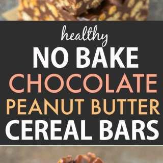 Healthy No Bake Chocolate Peanut Butter Cereal Bars (Vegan, Gluten Free)