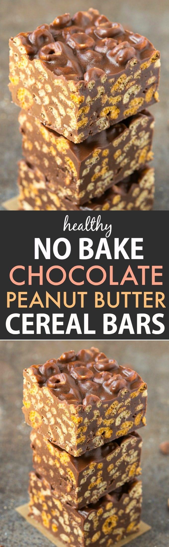 Healthy No Bake Chocolate Peanut Butter Cereal Bars (Vegan, Gluten ...
