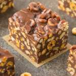 Healthy No Bake Chocolate Peanut Butter Cereal Bars (V, GF, DF)- Easy homemade crunch cereal bar recipe loaded with your favorite dry cereal, chocolate and peanut butter in one! {vegan, gluten free, sugar free recipe}- thebigmansworld.com