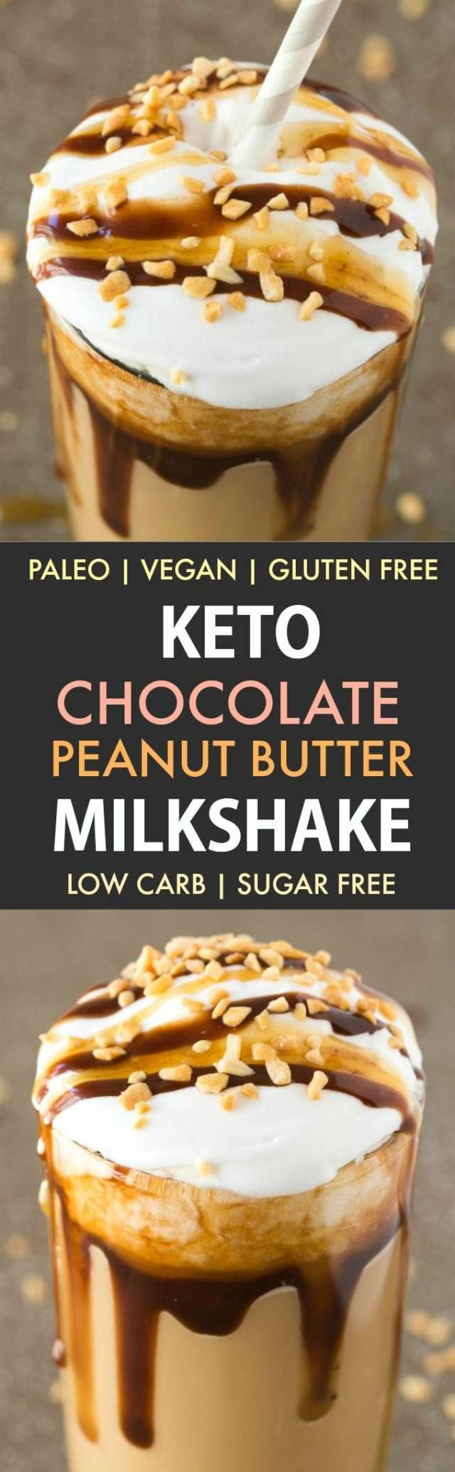 Keto Chocolate Peanut Butter Milkshake (Dairy Free, Paleo, Vegan, Gluten Free)- Insanely thick and creamy chocolate peanut butter milkshake which tastes like snickers! It's low carb and sugar free too! {v, gf, p recipe}- #keto #ketobreakfast #lowcarb #smoothie #dairyfreemilkshake | Recipe on thebigmansworld.com