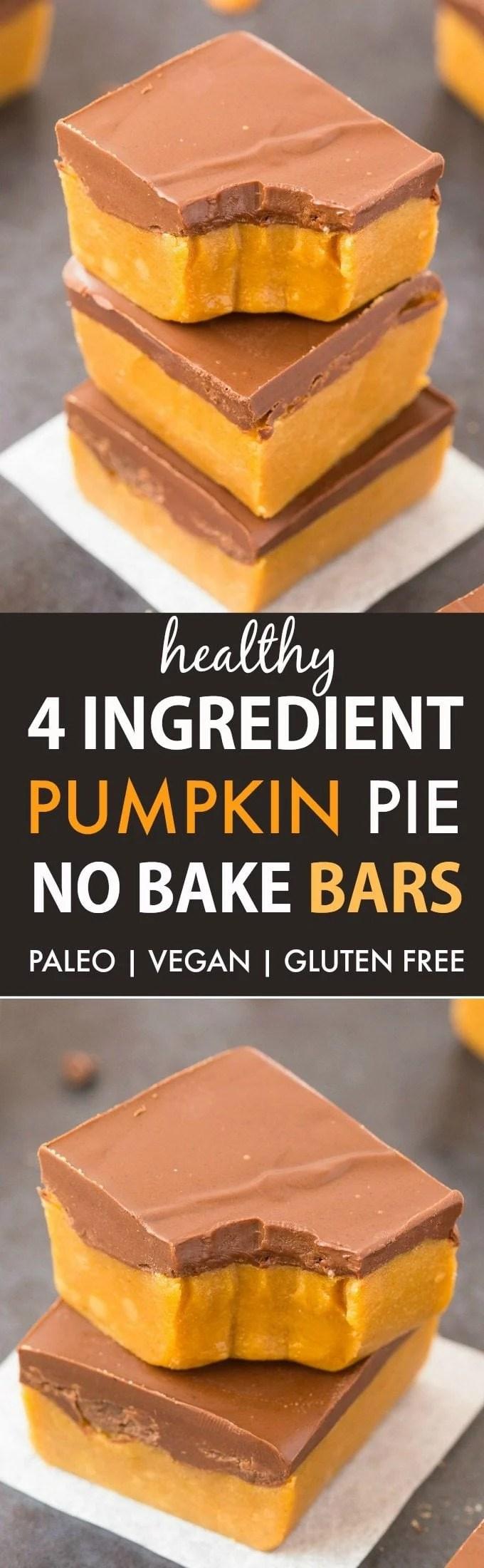 Healthy 4-Ingredient No Bake Pumpkin Pie Bars (V, GF, P)- an easy recipe for thick, gooey pumpkin pie bars that taste like dessert but is healthy and protein-packed! {#vegan, gluten free, #paleo recipe}- thebigmansworld.com #pumpkinpie #nobake