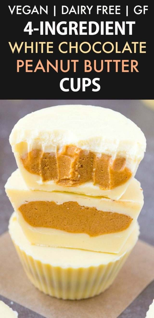 4-Ingredient Dairy Free White Chocolate Peanut Butter Cups (Vegan, Gluten Free)- Easy homemade White Chocolate Peanut Butter Cups filled with a sweet and salty creamy center! No dairy, no eggs and ready in 5 minutes! {v, gf, df recipe}- thebigmansworld.com #dairyfree #vegan #whitechocolate