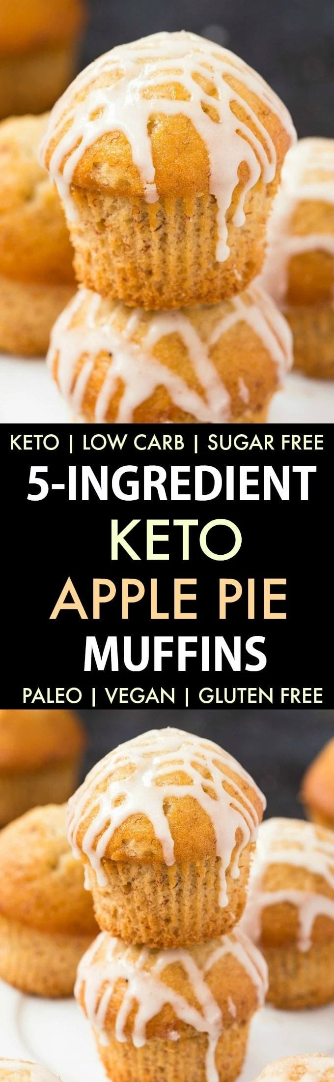 5-Ingredient Low Carb Apple Pie Muffins (Keto, Paleo, Vegan, Sugar Free)- Fluffy bakery style apple pie muffins using 5 ingredients and made with NO eggs and NO sugar- The ultimate guilt-free snack or dessert! #ketobaking #ketorecipe #lowcarbrecipes #protein | Recipe on thebigmansworld.com