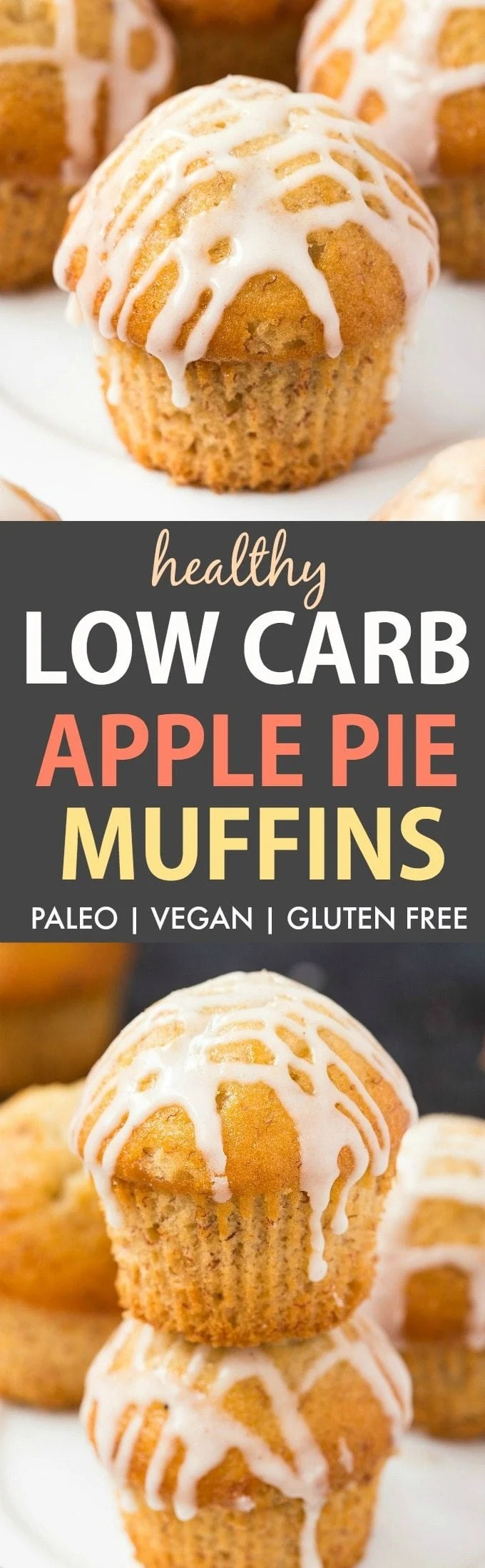 Low Carb Apple Pie Muffins (Paleo, Vegan, Gluten Free)- Healthy fluffy apple pie protein muffins which are accidentally low carb and made with NO eggs, NO sugar and NO grains- Perfect healthy baking! {v, gf, p recipe}- thebigmansworld.com