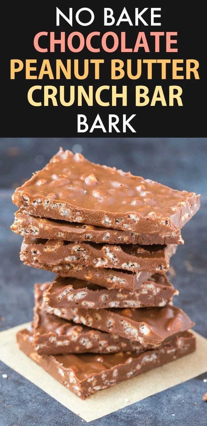 Healthy Chocolate Peanut Butter Crunch Bark (Vegan, Gluten Free, Sugar Free)- Easy homemade bark using just 5 ingredients and ready in 5 minutes- Dairy free and the perfect dessert or holiday gift!   #bark #chocolatepeanutbutter #dairyfree #glutenfreedessert #nobake   Recipe on thebigmansworld.com