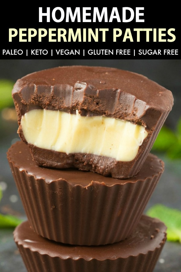 Healthy Homemade Peppermint Patty Recipe made with just 3-ingredients and NO sugar! These easy keto and vegan peppermint patties are the perfect mint chocolate no bake dessert to enjoy anytime! #fatbomb #ketodessert #vegandessert #ketodiet #ketogenic #sugarfree