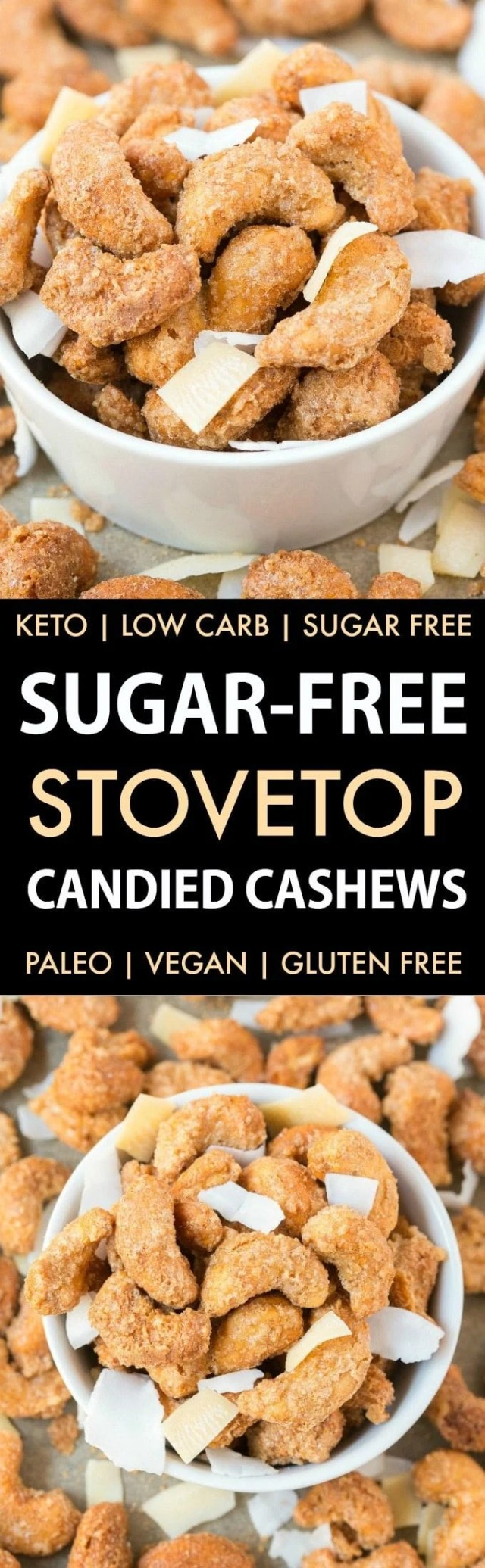 Easy Sugar-Free Candied Cashews (Keto, Low Carb, Paleo)- Stovetop made candied cashews made with zero sugar or oil- Perfect for holidays, gifts and every day guilt-free snacking! {vegan, gluten free, dairy free recipe}- #cashews #sugarfree #lowcarb #ketodessert   Recipe on thebigmansworld.com