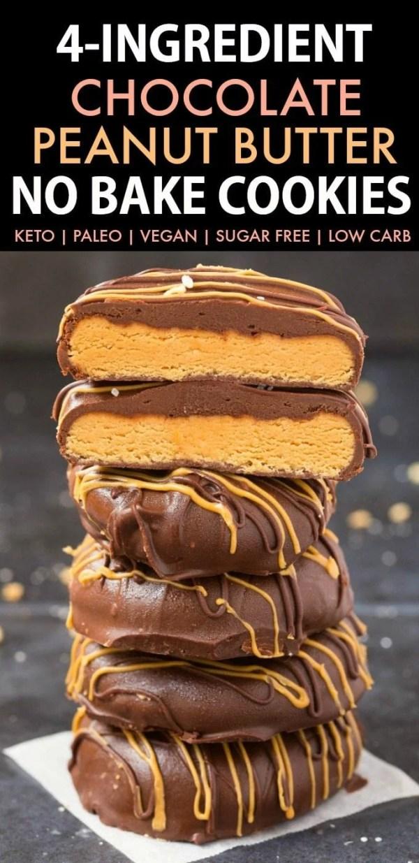 4-Ingredient No Bake Chocolate Peanut Butter Cookies