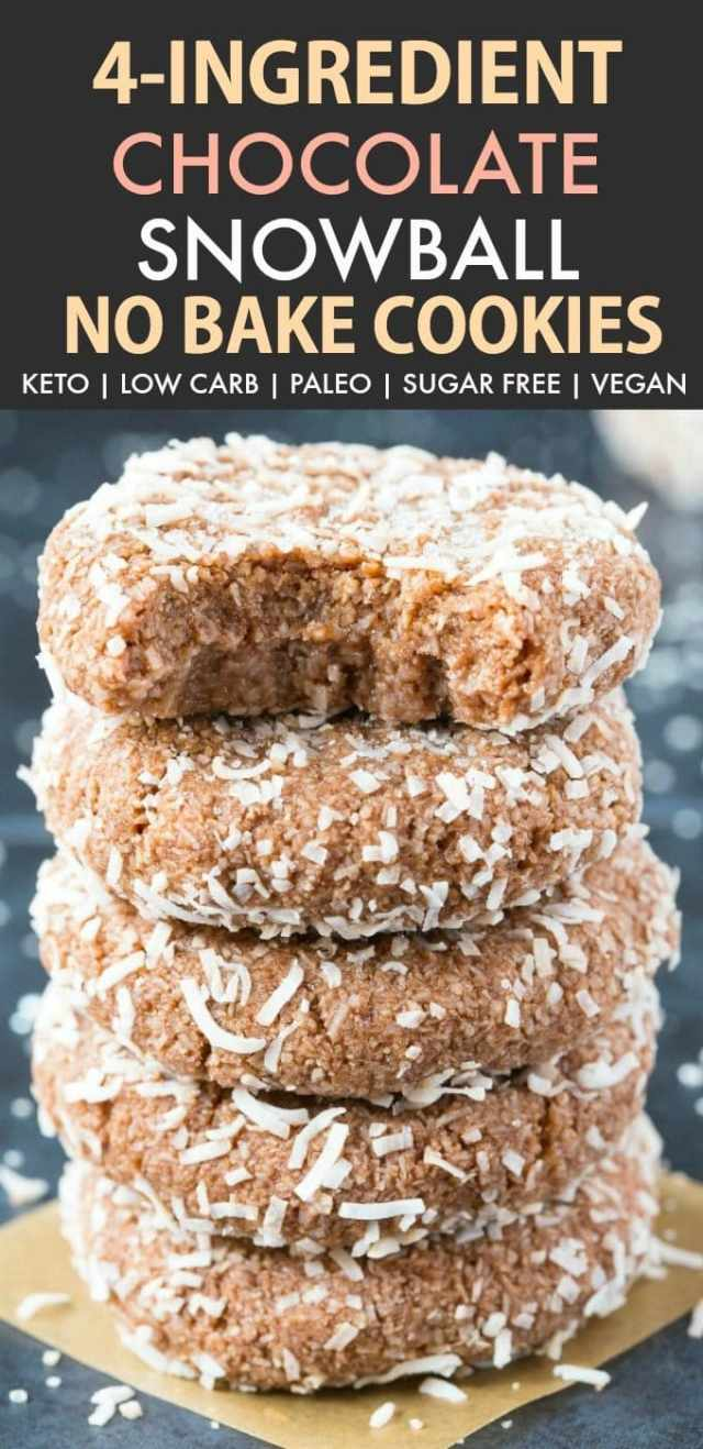4 Ingredient No Bake Chocolate Snowball Cookies (Keto, Paleo, Vegan, Sugar Free)- An easy, 5-minute recipe for soft chocolate coconut snowballs, but made in a cookie shape! No condensed milk, sugar, or dairy needed and super low carb. #lowcarbrecipe #nobakecookies #ketodessert #lowcarb #sugarfree   Recipe on thebigmansworld.com