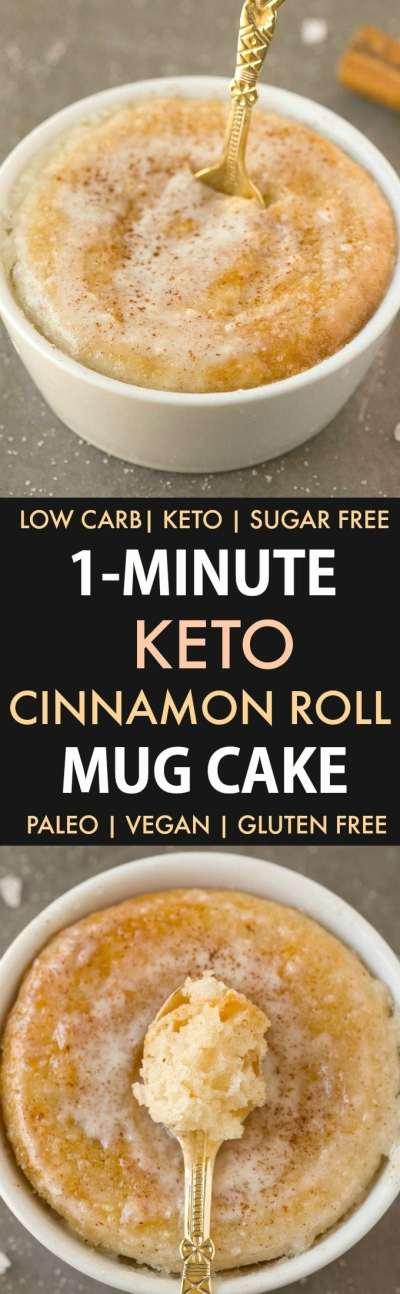 1-Minute Keto Cinnamon Roll Mug Cake (Paleo, Vegan, Sugar Free, Low Carb)- An easy mug cake recipe which takes one minute and is super fluffy, light and packed with protein- Tastes like a cinnamon bun! #keto #ketodessert #ketorecipe #mugcake | Recipe on thebigmansworld.com
