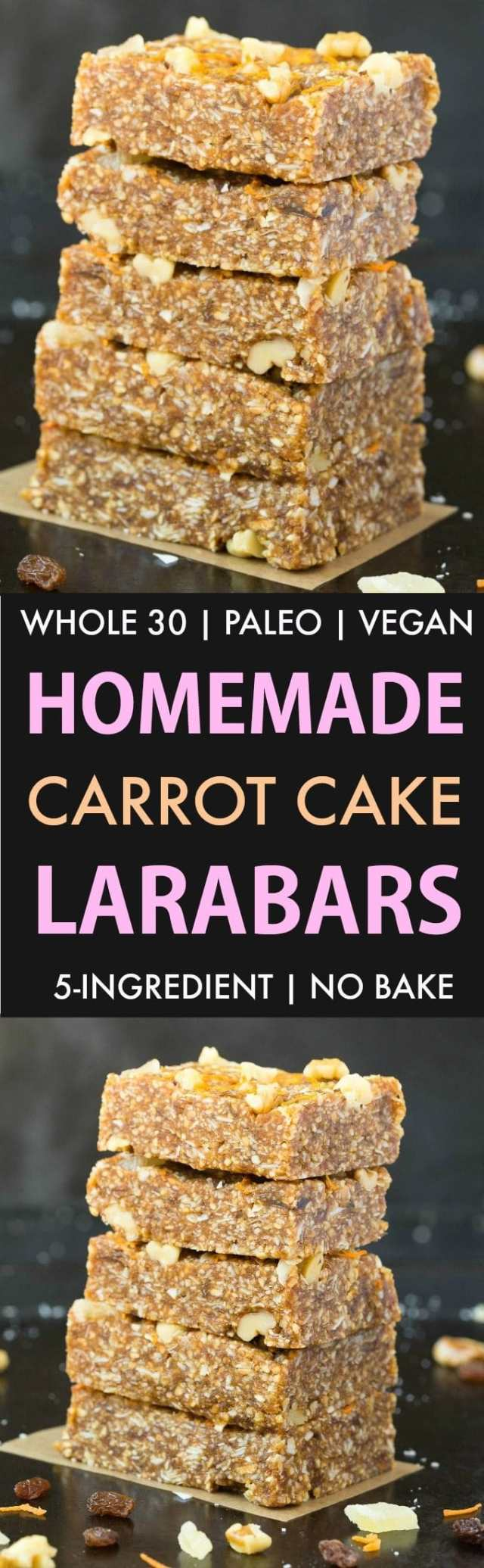 Homemade Carrot Cake Larabars (Whole30, Paleo, Vegan, Gluten Free) These homemade Larabars are cheaper than store-bought and take minutes to whip up! Made with simple Ingredients and whole30 approved! (vegan, whole 30, dairy free, refined sugar free)- #whole30 #vegan #whole30approved | Recipe on thebigmansworld.com