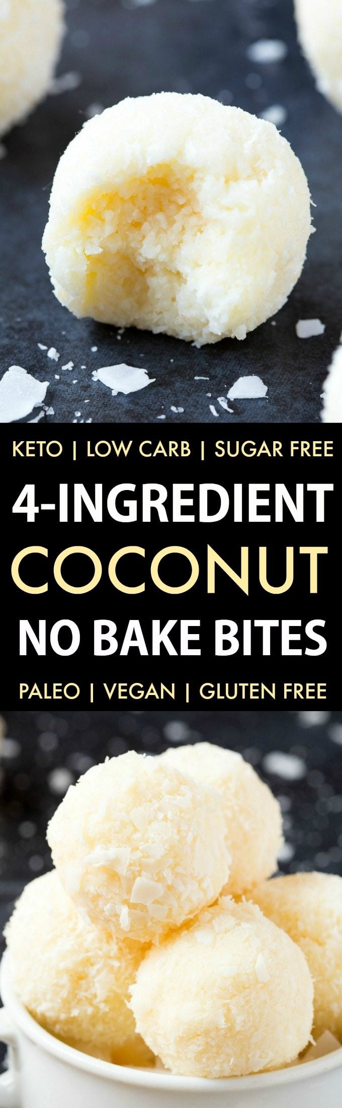 Easy and healthy no bake coconut bites made without condensed milk and needing just 4 ingredients. Made with coconut and almond flour, these paleo and vegan snacks take less than 5 minutes to whip up- They taste like raffaello! Keto, Sugar free, Low Carb.