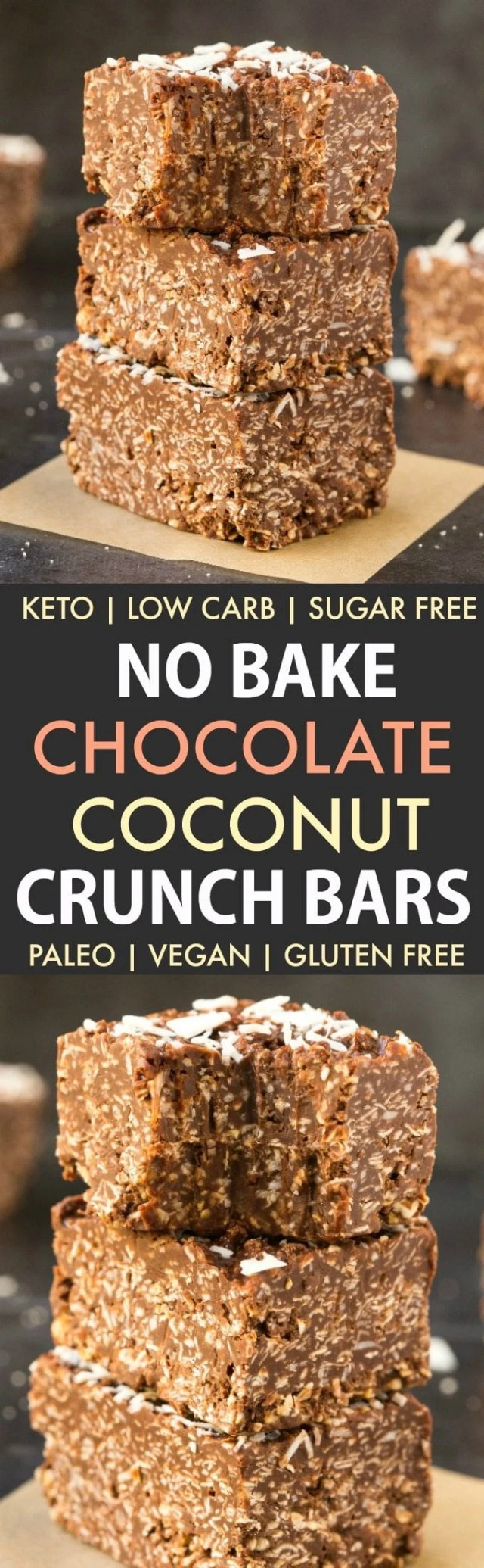 Homemade No Bake Keto Chocolate Coconut Crunch Bars in a collage