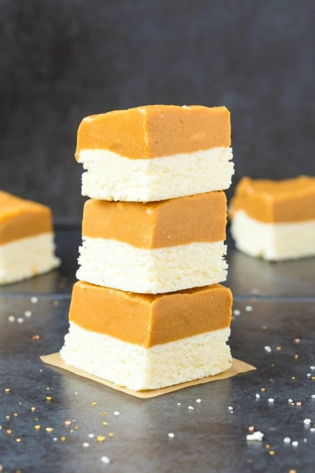 3-Ingredient No Bake Peanut Butter Coconut Crack Bars stacked on top of one another