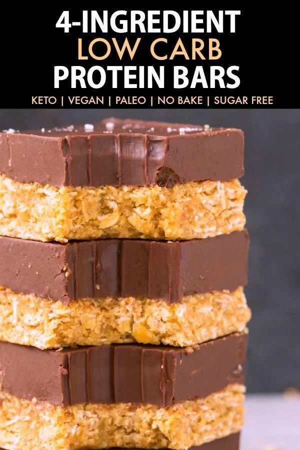 4-Ingredient No Bake Low Carb Protein Bars