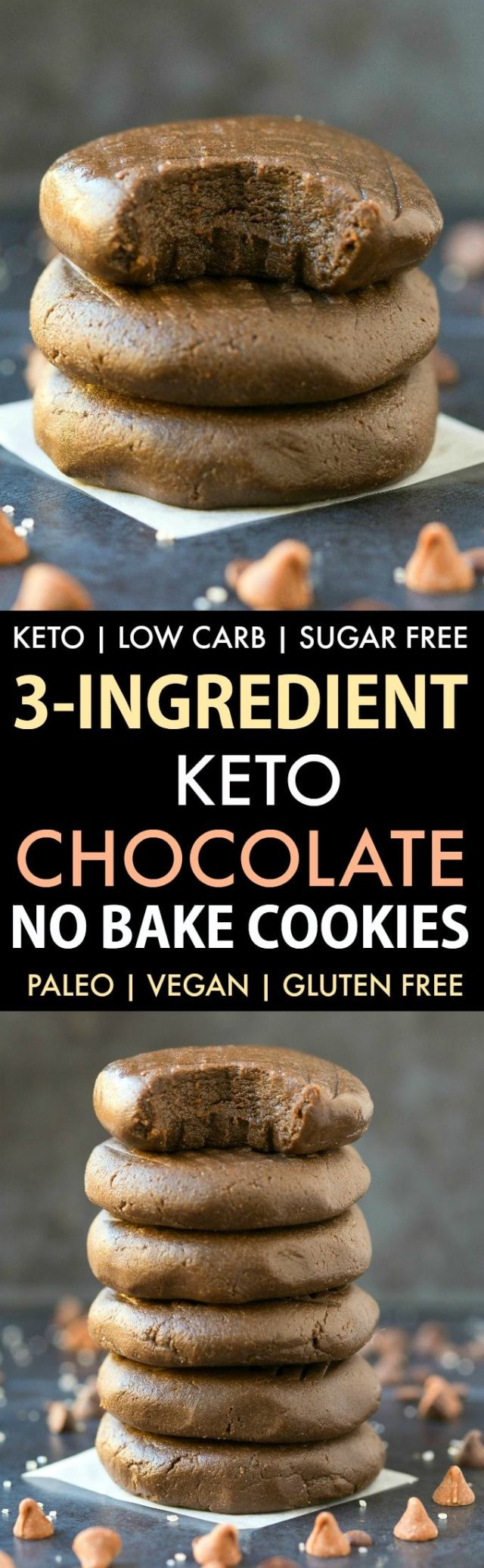3-Ingredient Low Carb Keto Chocolate No Bake Cookies in a collage