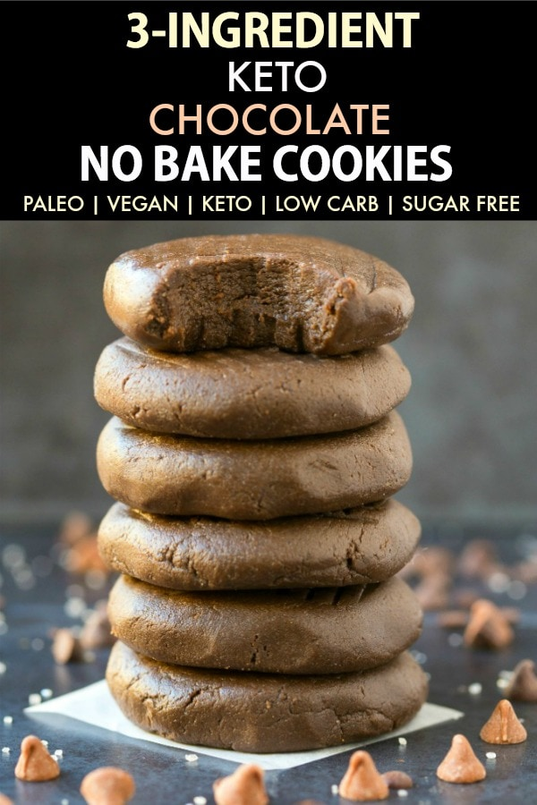 3-Ingredient Low Carb Keto Chocolate No Bake Cookies stacked on top of one another