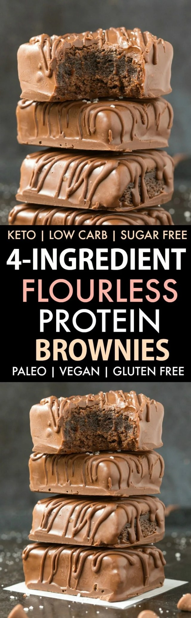 Flourless 4-Ingredient Keto Protein Brownies in a collage