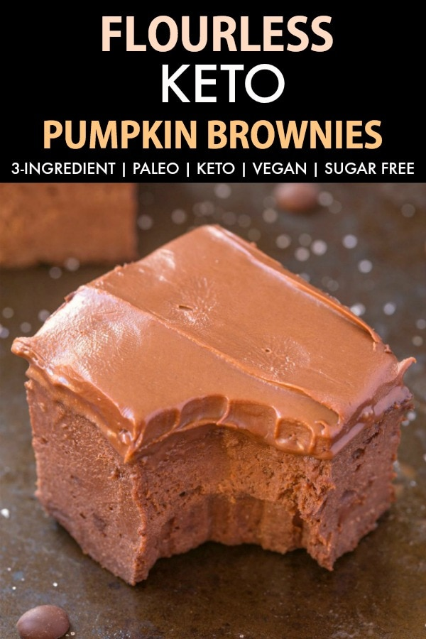 3-Ingredient Flourless Pumpkin Brownies topped with frosting.