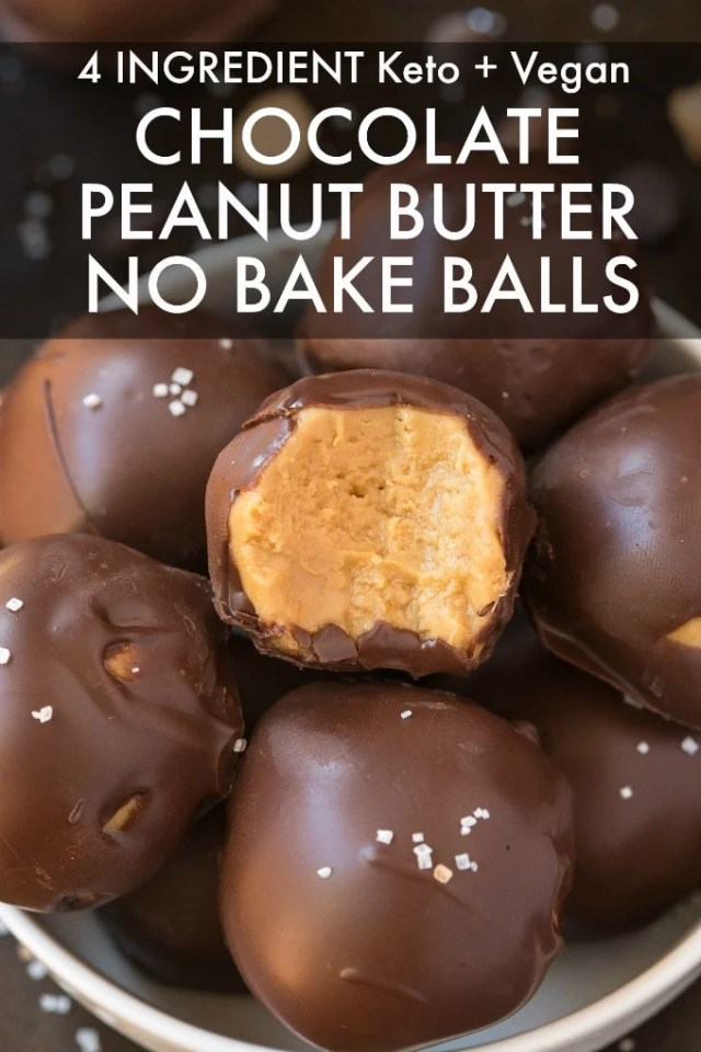 A bowl of chocolate peanut butter no bake balls.