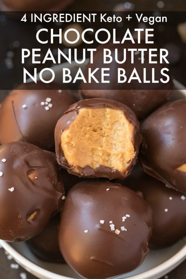 A bowl of chocolate peanut butter no bake balls.