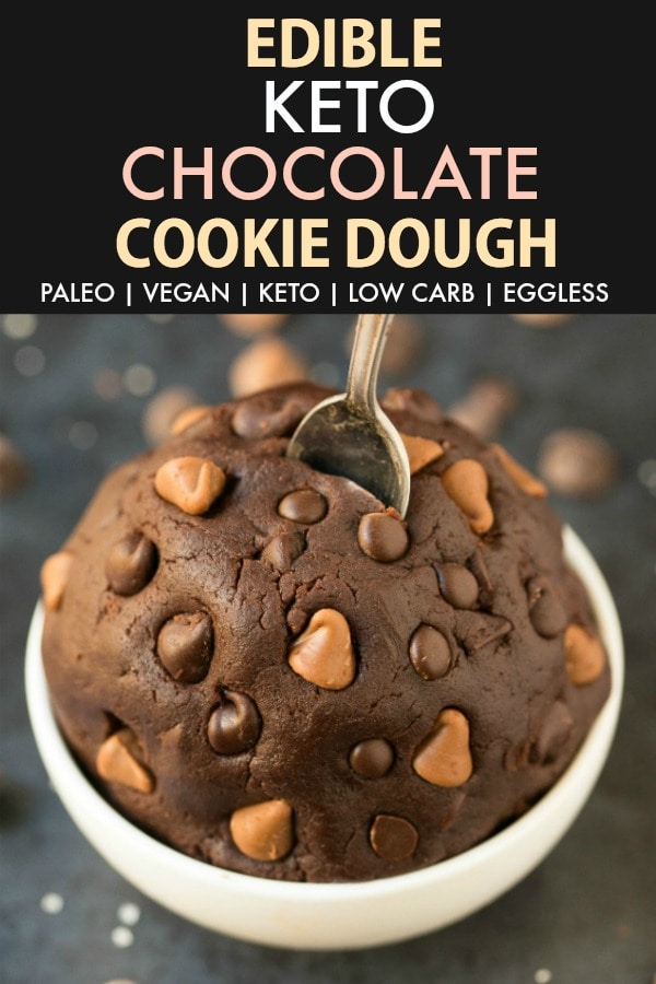 Edible Low Carb Keto Chocolate Cookie Dough in a white bowl