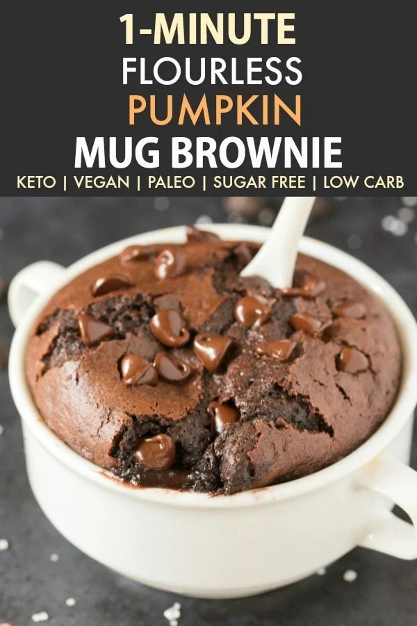 Healthy 1-Minute Flourless Mug Brownie loaded with chocolate chips