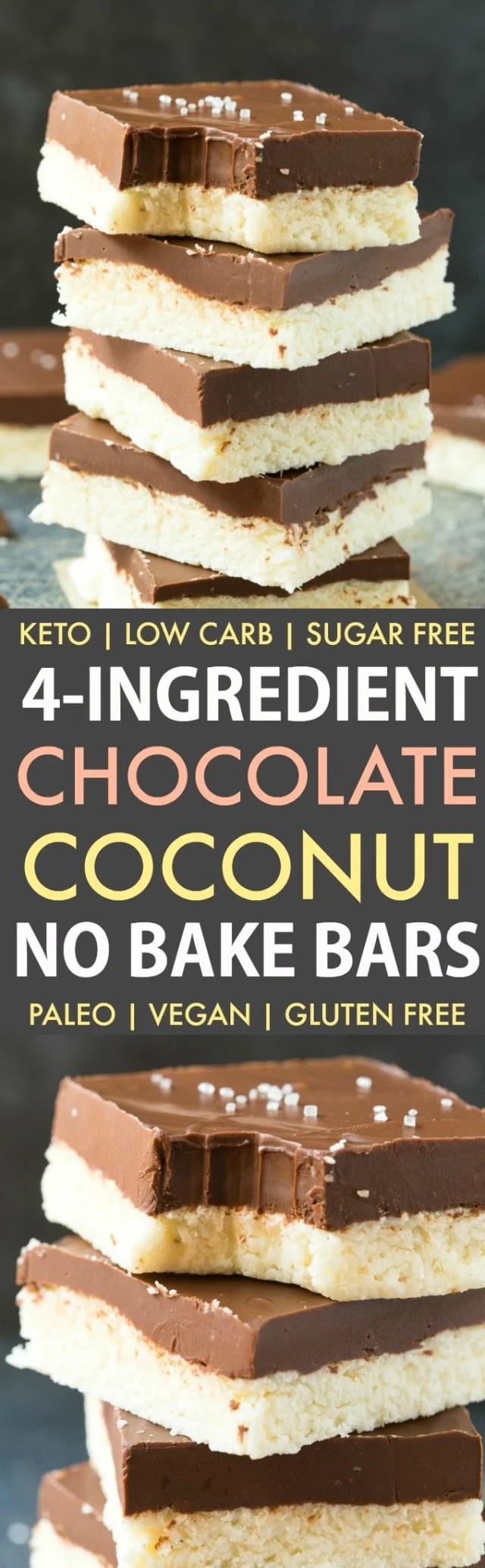 Healthy 4-Ingredient Paleo Vegan Chocolate Coconut Bars