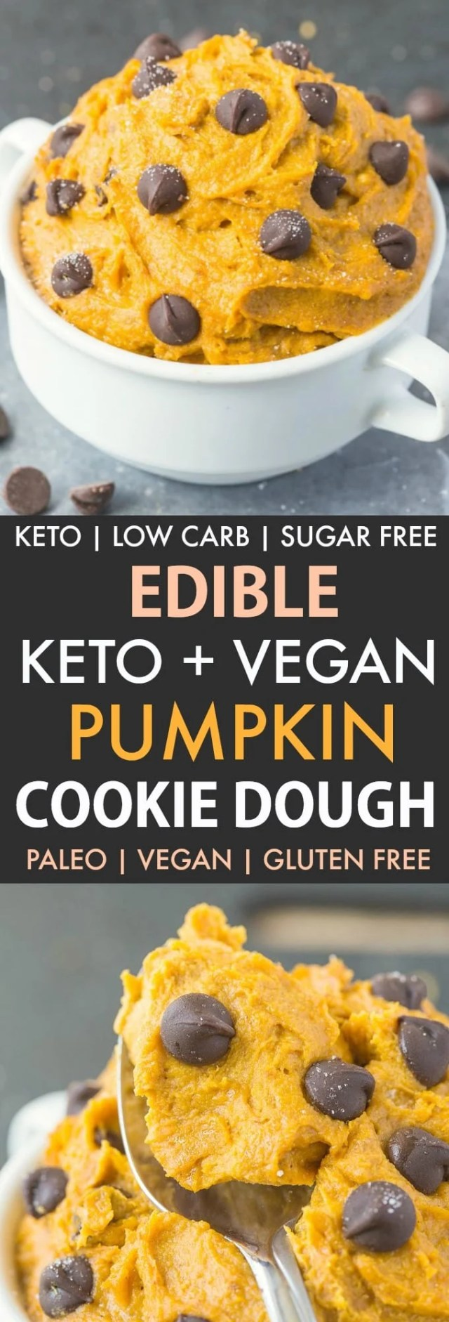 Healthy Paleo Vegan Pumpkin Cookie Dough in a white bowl and collage